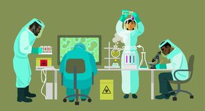 Scientists in protective suits are working with bio hazardous substances. Virologists are carrying out research in the. Medical laboratory. Cartoon flat vector royalty free illustration