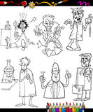Scientists set cartoon coloring book Stock Photography