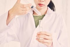 Scientists study the mixing of substances extracted from nature. Used to treat and nourish the body. The concept of using organic substances from nature stock photo