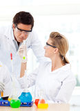 Scientists studying test-tubes Stock Photography
