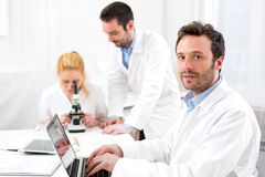 Scientists team working together at the laboratory Royalty Free Stock Photography