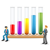 Scientists with test tubes Stock Images