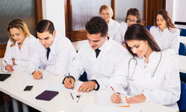 Scientists at training courses Stock Photos