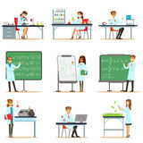 Scientists At Work In A Lab And An Office Series Of Smiling People Working In Academic Science Doing Scientific Research Royalty Free Stock Images