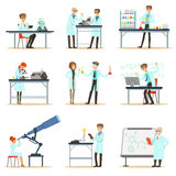 Scientists At Work In A Lab And An Office Set Of Smiling People Working In Academic Science Doing Scientific Research Royalty Free Stock Photo