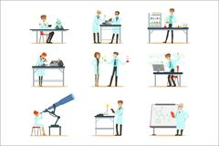 Scientists At Work In A Lab And An Office Set Of Smiling People Working In Academic Science Doing Scientific Research vector illustration
