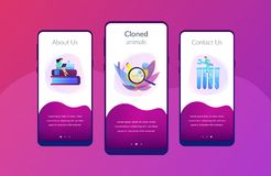 Genetically modified animals app interface template. royalty free illustration