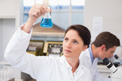 Scientists working with microscope and beaker Stock Image