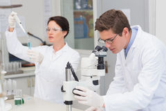 Scientists working with microscope and test tube. In laboratory Royalty Free Stock Photos