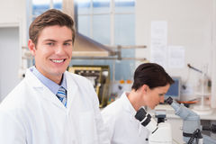 Scientists working with microscopes Stock Photography