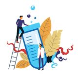 Scientists working on new cure formula poured in tube. Vector treatment quest people on ladder wearing gowns scientific research science industry tube with stock illustration
