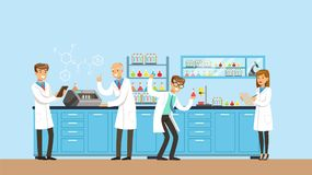 Scientists working research in chemical lab, interior of science laboratory, vector Illustration. In flat design royalty free illustration