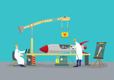 Scientists working on a rocket missile warhead. Reverse engineering concept. Illustration of two scientists inventors making or reverse engineering a rocket in vector illustration