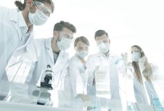 Scientists working with test tubes and microscope in the laboratory. Group of scientists working with test tubes and microscope in the laboratory Stock Photos