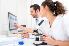 Scientists working together in a laboratory Royalty Free Stock Image