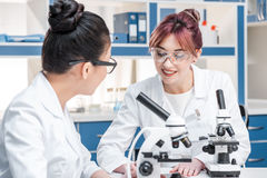 Scientists working together with microscopes in chemical lab. Scientists team concept Royalty Free Stock Image