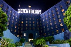 Scientology at Night. Los Angeles, CA: July 27, 2016: Church of Scientology building at night in Los Angeles. Scientology is a religion that was created in 1954 Royalty Free Stock Photography