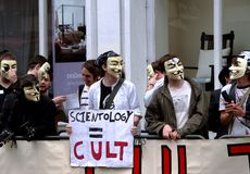 Scientology Protest. A protest against scientology taking place in central London. Led by the Anonymous against the Church of Scientology group Stock Photos