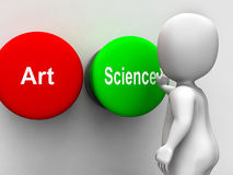 Scienza Art Buttons Shows Scientific Or artistico illustrazione di stock