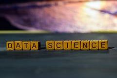 Scienza di dati sui blocchi di legno Immagine elaborata incrocio con il fondo del bokeh immagini stock