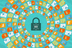 Scienza e comunicazione di dati con il concetto di sicurezza illustrazione vettoriale