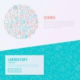 Scienza e concetto del laboratorio nel cerchio illustrazione vettoriale