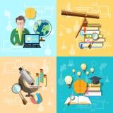 Scienza ed educazione: gli studenti, istituto universitario, hanno messo le icone di vettore Fotografia Stock Libera da Diritti