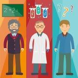 Scienza ed educazione: professore, scienziato, studente Fotografia Stock