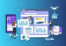 Scienza ed illustrazione futura dell'ufficio di dati di tecnologia illustrazione di stock