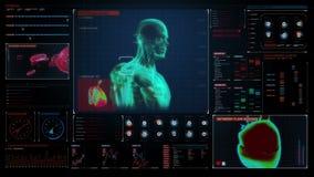 Scienza medica umana d'esplorazione 3D nell'esposizione medica digitale Interfaccia utente royalty illustrazione gratis