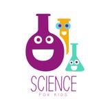 Scienza per il simbolo di logo dei bambini Etichetta disegnata a mano variopinta Fotografia Stock