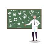 Scienza piana chimica dell'illustrazione di progettazione di stile di ricerca del laboratorio per il concetto di tecnologia Colla Immagini Stock Libere da Diritti