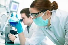 Scienziati che lavorano al laboratorio Fotografia Stock Libera da Diritti