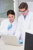 Scienziati che per mezzo del computer portatile Immagini Stock