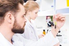 Scienziati dello studente e dell'insegnante che lavorano insieme nel laboratorio Immagini Stock