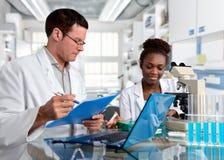 Scienziati, maschio caucasico e femmina africana, lavoro in laborator immagini stock