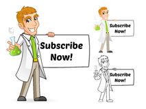 Scienziato Cartoon Character Holding un becher e un'insegna Fotografia Stock
