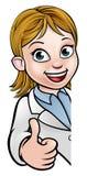 Scienziato Cartoon Character Thumbs sul segno Immagini Stock