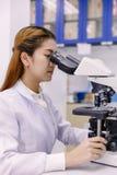 Scienziato che utilizza un microscopio in un laboratorio Fotografia Stock