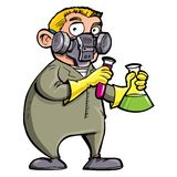 Scienziato del fumetto che sperimenta con i prodotti chimici Immagine Stock