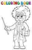 Scienziato del libro da colorare con il puntatore illustrazione di stock