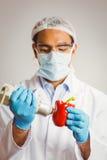 Scienziato dell'alimento che per mezzo del dispositivo su pepe Immagini Stock