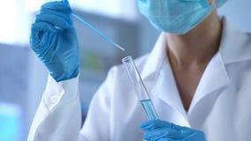 Scienziato di chimica che versa liquido blu in tubo del laboratorio, nuovo sviluppo dei detersivi fotografie stock