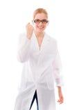 Scienziato femminile che celebra successo Fotografia Stock