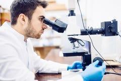 Scienziato maschio, chimico che lavora con il microscopio in laboratorio farmaceutico, campioni examinating Fotografia Stock
