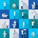 Scienziato Person Flat Set Immagini Stock