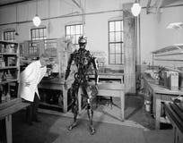 Scienziato surreale d'annata, scienza, tecnologia del robot Fotografia Stock Libera da Diritti