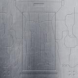 Scifi ściana chromu metalu obwody i ściana Metalu tło ilustracja wektor