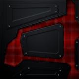 Scifi ściana metal ściana z czerwoną kruszcową siatką Metalu tło Zdjęcie Stock