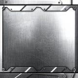 Scifi ściana srebna metal ściana, nit i metalu te i tło Obraz Royalty Free